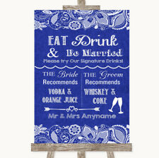 Wedding Sign Poster Print Navy Blue Burlap & Lace Signature Favourite Drinks