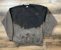 VINTAGE Distressed Bleach Dyed Crew Neck Sweater Made In USA Mens XXL