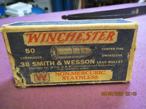 Antique WINCHESTER .38 SMITH & WESSON AMMO Shell BOX Empty