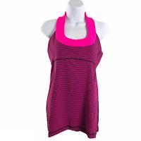 Lululemon Scoop Neck Tank Top Hyper Stripe Raspberry Glo Light Women's Size 10