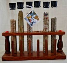 New Glass Tube Vial Spice Rack 6 Rubber Top Wood Organizer