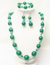 Green Round Wood Bead Necklace/Bracelet/Earrings Set