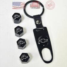 Black Car Wheel Tyre Tire Valve Dust Stems Air Caps Keychain Chevrolet Emblem