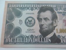 2 X NOVELTY $1 TRILLION DOLLAR NOTES Bills USA American Abraham Lincoln Present