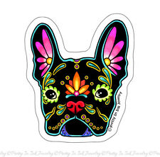 French Bulldog in Black Sticker - Day of the Dead Frenchie Sugar Skull Dog Decal