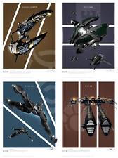 Eve Online Frigates Battlecruisers Art Print Set Series 2 - Set of 4