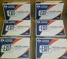 (6) Lithonia Thermoplastic LED Emergency Exit Sign Red Letter AC only no Battery
