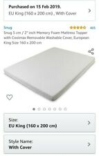 European King Size memory foam mattress topper with cool max washable cover.