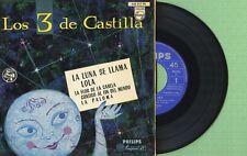 LOS 3 DE CASTILLA Luna Lola, La Paloma PHILIPS 428 217 BE Press Spain 1959 EP EX