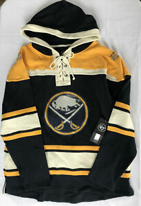 47 Brand Buffalo Sabres Lace Up Hoodie Mens Size L NEW
