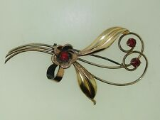 VINTAGE 1940'S HARRY ISKIN RETRO GOLD FILLED ROSE YELLOW GOLD FLORAL PIN!
