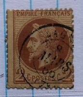 TIMBRES FRANCE : Yvert et Tellier N°26a 2c rouge-brun oblit. date type 15