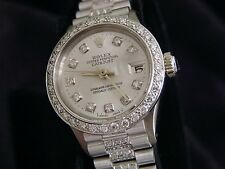 Ladies Rolex SOLID 18K White Gold Datejust President Diamond Dial, Bezel & Band