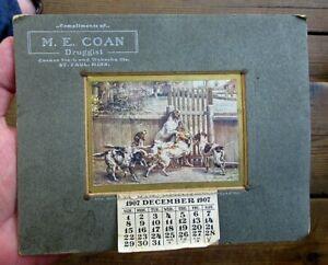 1907 M. E. COAN, MNPLS, MN HUNTING DOGS HUNT HUNTERS CALENDAR CABINET PHOTO