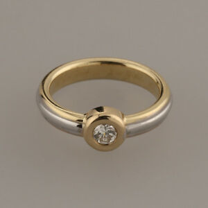 Cartier Triple 18ct Gold Diamond Solitaire Ring Size H