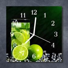 Glass Wall Clock Kitchen Clocks 30x30 cm silent Lime Green