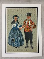 1932 Vintage Stampa Married Coppia Cattolico Abito Costume Paesi Bassi Holland