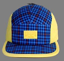 3dd31b8d2de22  40 CROOKS   CASTLES 5 Panel Hat Strapback Plaid Blue yellow Rare Mens NWT