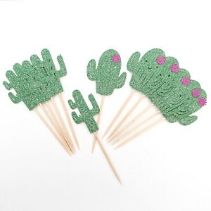 Cactus Cupcake Toppers Green Glitter Cactus Toppers Pink Flower Cactus Toppers