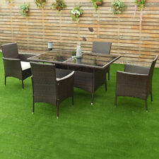 5PCS Rattan Garden Sofa Set Outdoor Patio Furniture Table Chair With Cushion New