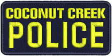 COCONUT CREEK POLICE embroidery patch 3x6.5  hook on back NAVY/YELLOW