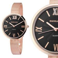 Damen Armbanduhr Schwarz/Rosé Crystalbesatz Metallarmband Meshband von Excellanc