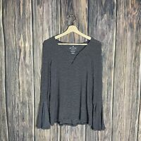 American Eagle Soft & Sexy Top Small Women Stripe Boho Flare Bell Sleeve Stretch