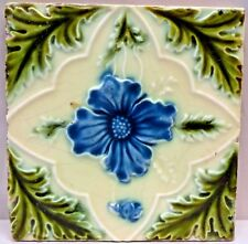 VINTAGE TILE ENGLAND PURPLE ROSE PORCELAIN GREEN LEAF ART NOUVEAU COLLECTIBL#144