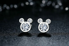 Women's Fashion Jewelry 925 Silver Mickey Mouse Shaped Stud Earrings 23-7