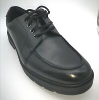 Clarks loxham pace mens / boys black leather lace up shoes size 8 uk H NEW