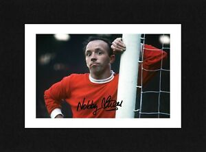 8X6 Mount NOBBY STILES Signed PHOTO Gift Ready To Frame MANCHESTER UNITED