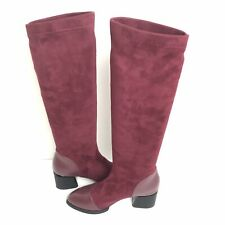 Boots Faux Suede Leather Tall Stretch Dress Magenta Boots $115MSRP NWOB 37 🇫🇷