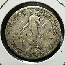 1918  PHILIPPINES SILVER 50 CENTAVOS BETTER DATE