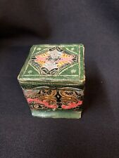 ANTIQUE Italy Pressed Leather Box TRAVEL HINGED INKWELL Embossed Painted Gilt 2""