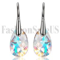 2pcs Women Girls Drop Earrings Made with Swarovski Elements Crystals Aurora Stud