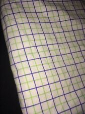VTG Ralph Lauren University Tattersal Twin Flat Sheet White, Blue & Lime Plaid