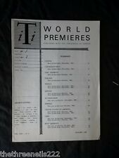 INTERNATIONAL THEATRE INSTITUTE WORLD PREMIER - JAN 1962 VOL 13 #4