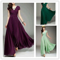 US Women V-neck Boho Dress Chiffon Maxi Dress Long Party Bride Bridesmaids GIFT