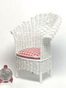 Artisan Vintage White Wicker Fan Back Chair Cushion 1:12 Dollhouse OOAK Signed