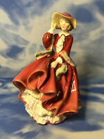 """AS IS Royal Doulton """"Top O' the Hill"""" Glazed Lady Figurine Red HN1834"""