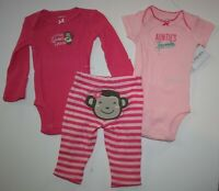New Carter's 3 Piece Set 6m Girls Outfit 2 Bodysuit Tops & Pants Sweet Monkey