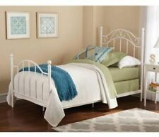 Metal Bed Frame Headboard Footboard Iron Twin Size Bedroom Furniture White New