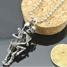 Men's Infinity Tibet Silver Stainless Steel Couple Skull Pendant Chain Necklace