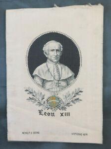 ANTICO RUBAN ST ETIENNE LEON XIII NEYRET & BERNE SETA RICAMATO RICAMO LIONE BM44