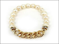 Pearl Beaded Stretch Bracelet With Gold Toned Chain