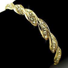 Yellow Gold gp Round Cut Lab Diamond Twist Clip Bangle Bracelet Fashion