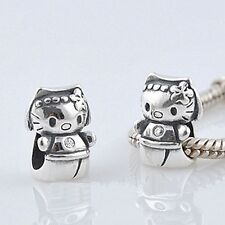 Hello Kitty-PRINCESS-GATTINO-CAT - Solido 925 argento Sterling Charm Bead Europeo