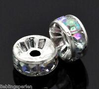 Großverkauf Versilbert  Farben Acryl Strass Rondell Spacer Perlen Beads 8mm L/P