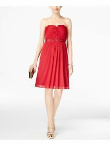ADRIANNA PAPELL Womens Embellished Ruched Sleeveless Strapless Evening Dress