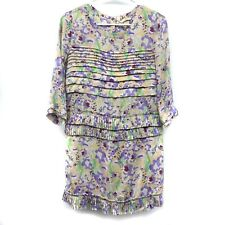 H&M Dress Size 2 Purple Yellow Printed Pleated 3/4 Sleeve Scoopneck Shift Womens